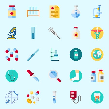 Icons set about medical with pipette, pills, teeth, pill, test tube and stethoscope. Illustration