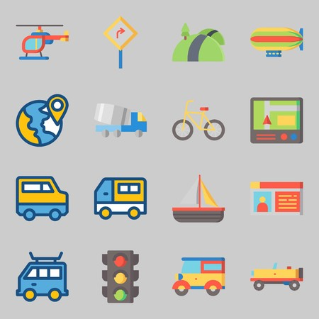 Icons set about Transportation. with plane, van and driving license