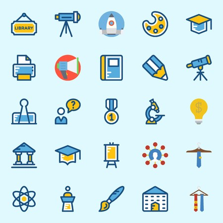 icons set about School And Education. with notebook, tie, physics, microscope, user and paint brush Stock Illustratie
