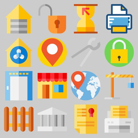 Icon set about Real Assets with keywords padlock, worldwide, elevator, monumental, sand clock and placeholder