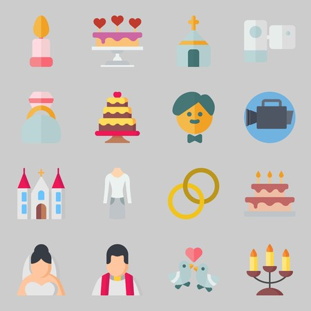 Icons set about Wedding. with engagement ring, groom and wedding rings