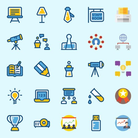 icons set about School And Education. with printer, staff, paperclip, projector, medal and presentation