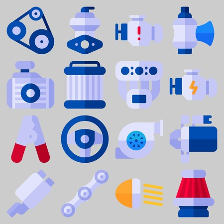 Icon set about car engine with keywords radiator, pulley, manifold, belt, motor and engine.
