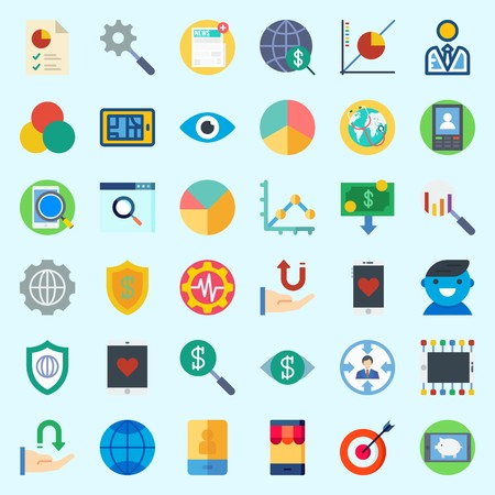 Icons about marketing with line graph, newspaper, worldwide, target, targeting and internet. Illustration