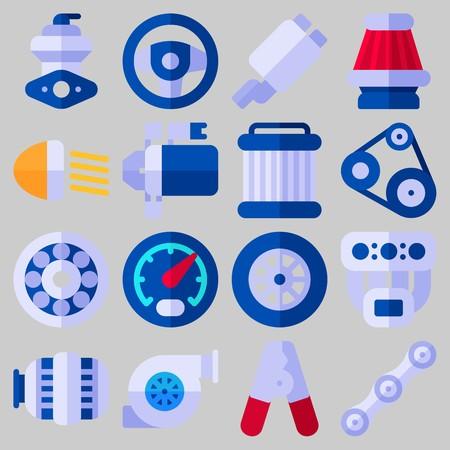 Icon set over automotor met trefwoorden luchtfilter, meter, wiel, poelie, autolichten en sreeringwiel Stock Illustratie