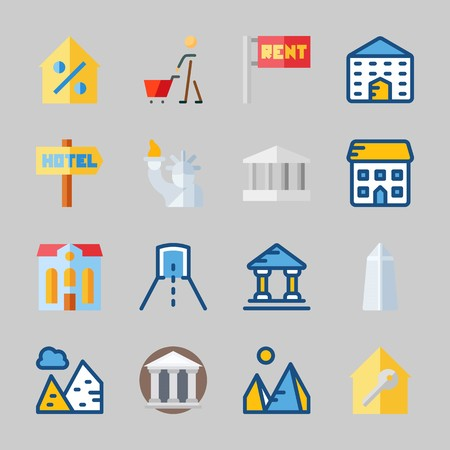 Icons about Construction with percentage, pyramids, real estate, monumental, shopping and museum