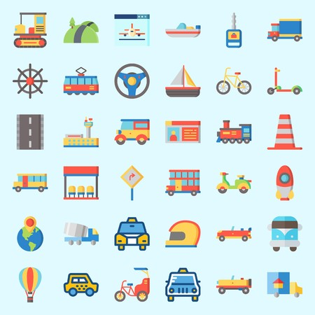 Icons about Transportation with boat, taxi, airport, sail boat, double decker and hot air balloon