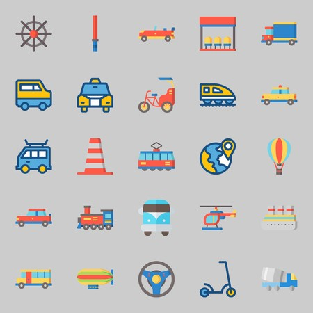Icons set about transportation with helicopter, stick, bus, rudder, tram and truck. Ilustração
