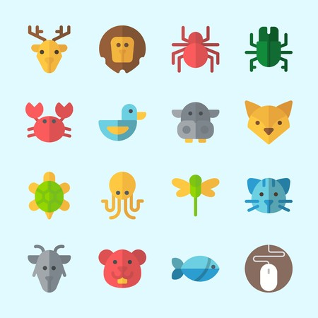 Icons about Animals with cat, fox, beetle, goat, lion and fish