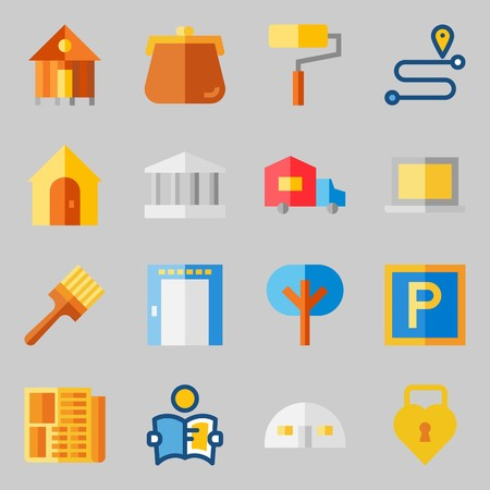 Icons set about Real Assets. with paint roller, studying and elevator