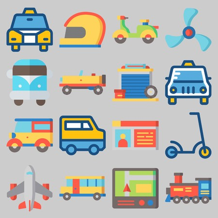 Icons set about transportation with cab, helmet, motorbike, propeller, bus and airplane.