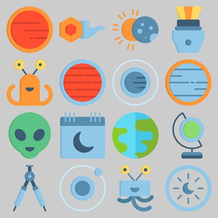Icon set about Universe with keywords earth, comet, astrology, eclipse, neptune and planet