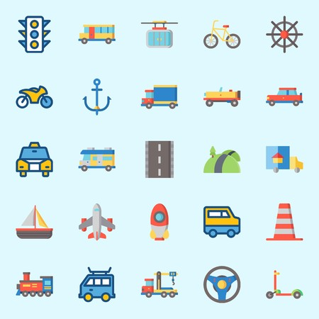 icons set about Transportation. with cable car, scooter, rudder, car, cone and steering wheel