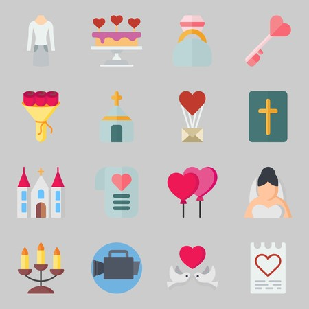 Icons set about Wedding. with bible, balloons and suit