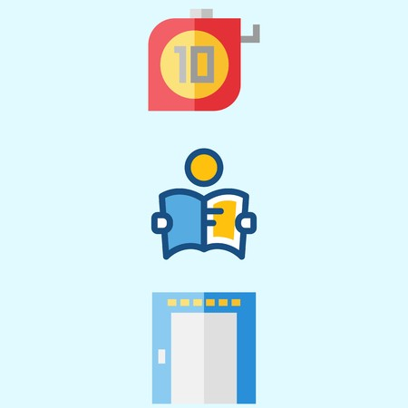 Icons about real assets with measuring, studying and elevator.