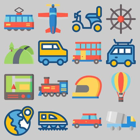 Icon set about Transportation with keywords car, tram, road, locomotive, train and rudder