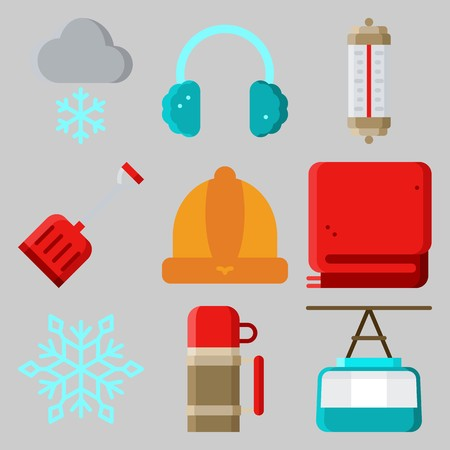 Icons set about Winter with winter hat, cable car cabin, thermo, snowflake, earmuffs and snowing
