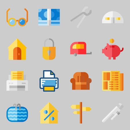 Icons set about Real Assets. with money icons, padlock and motor home Illustration