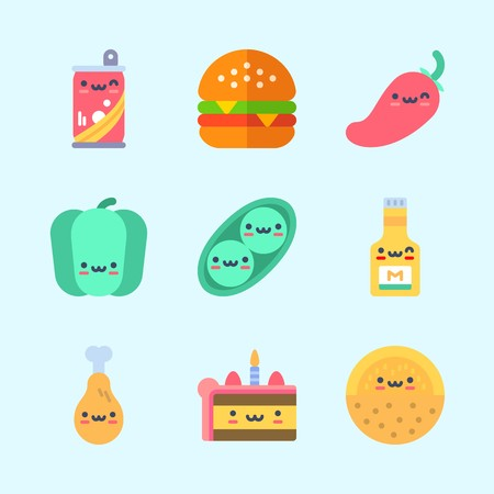 Icons about Food with soda, bell pepper, chili pepper, melon, pea and mustard