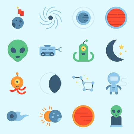 Icons set about universe with moon vehicle, eclipse, alien, planet and astronaut.