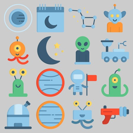 Icon set about Universe with keywords blaster, constellation, venus, calendar, alien and observatory Illustration
