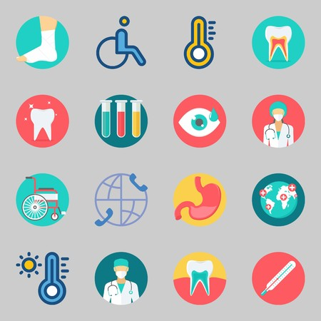 Icons set about Medical. with sprain, tooth and surgeon Vectores