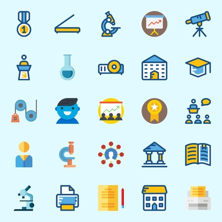 Icons about School And Education with user, medal, lecture, printer, mortarboard and microscope