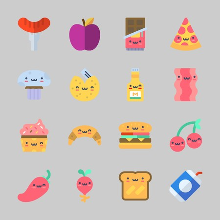 Icons about Food with chocolate, toast, cherry, pizza, hamburger and hot dog Standard-Bild - 98213600
