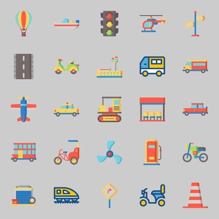 conjunto de iconos sobre transporte. con doble piso, coche, carretera, garaje, furgoneta y avión Ilustración de vector