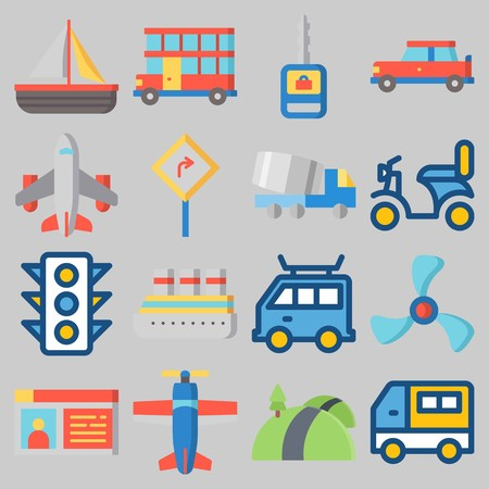 Icon set about Transportation with keywords van, car, airplane, double decker, truck and motorbike Illustration