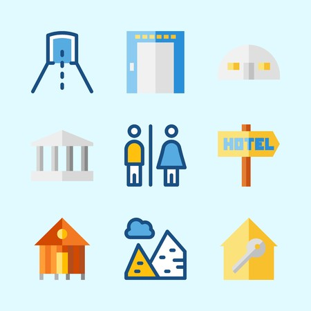 Icons about Construction with toilet, pyramids, hotel, monumental, store house and tunnel