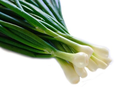onions: Bunch of fresh spring onions  in white background