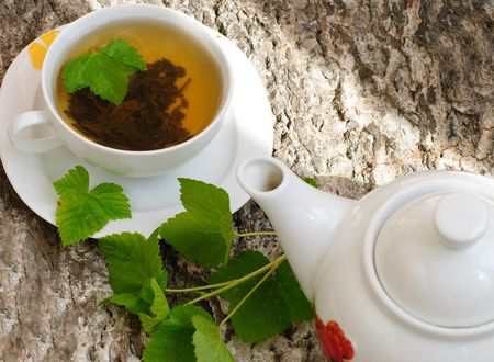 Herbal tea with currant leaves Stock Photo - 7428319