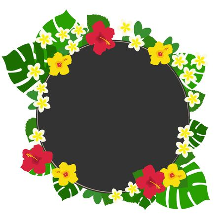 Circular black background frame of red and yellow hibiscus and monstera and plumeria