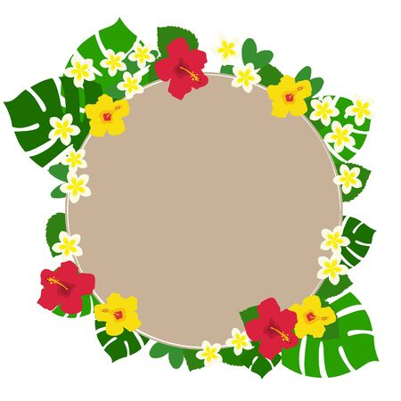 Circular brown background frame of red and yellow hibiscus and monstera and plumeria