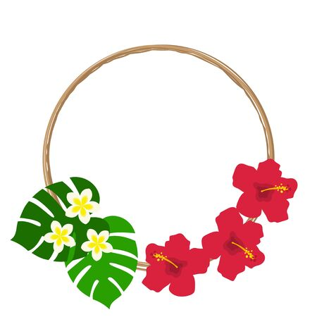 Red hibiscus, plumeria and monstera frame