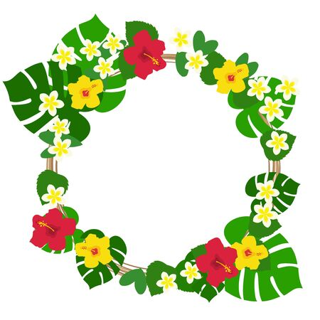 Red and yellow hibiscus and monstera and plumeria circular frame