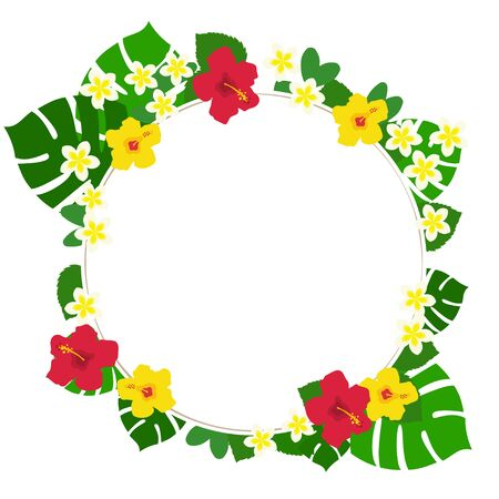 Circular white background frame of red and yellow hibiscus and monstera and plumeria Иллюстрация