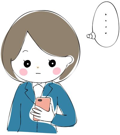 A young woman in a suit who is losing her words while looking at the screen of her smartphone