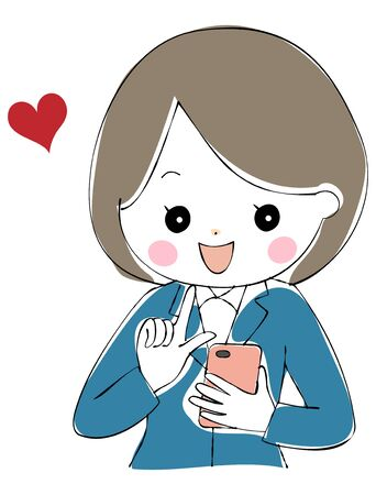 A young woman in a suit who happily operates her smartphone