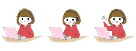 A woman teleworking with a laptop and headset Illustration