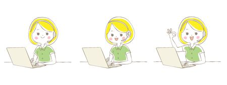 Young woman operating laptop with telework