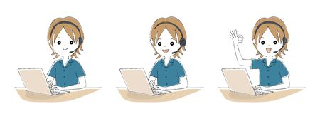Variations of men teleworking on laptops