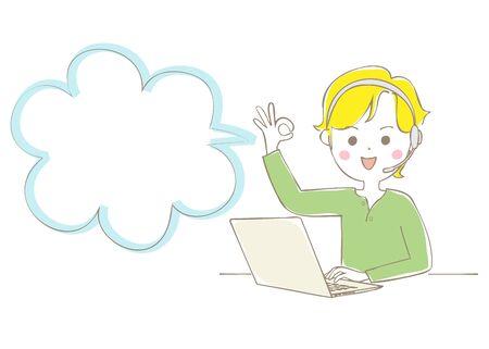 A man with a headset to open his laptop and sign an OK sign Vektoros illusztráció
