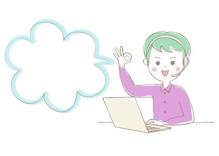 The man with the headset to open the laptop and sign ok  イラスト・ベクター素材