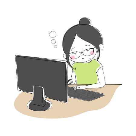 A woman wearing glasses that doze off while working on a computer