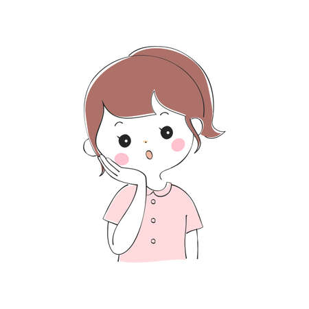 Young woman's facial expression variations  イラスト・ベクター素材