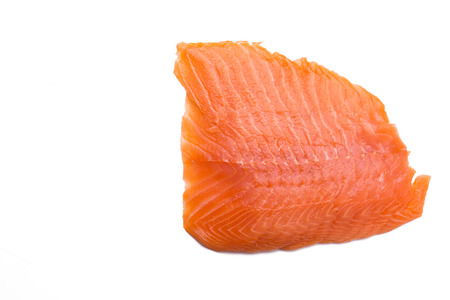 ingedient: Salmon fillet isolated on white background with copy-space, close-up Stock Photo