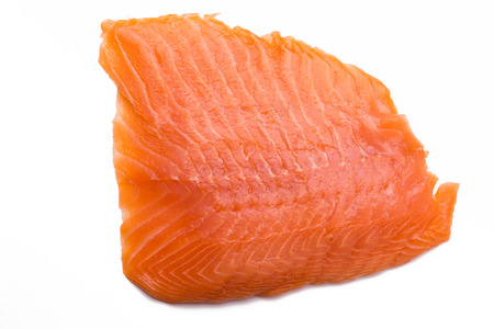 ingedient: Salmon fillet isolated on white background, close-up, top view, Stock Photo