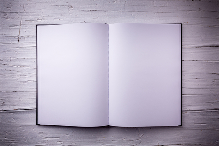 showcase interiors: Open blank textbook on white wooden weathered background. Top-view, closeup.